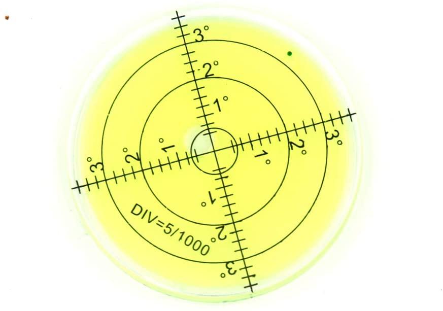 Bullseye Spirit Level Plastic Circular Level,Ø66mm, Yellow Liquid