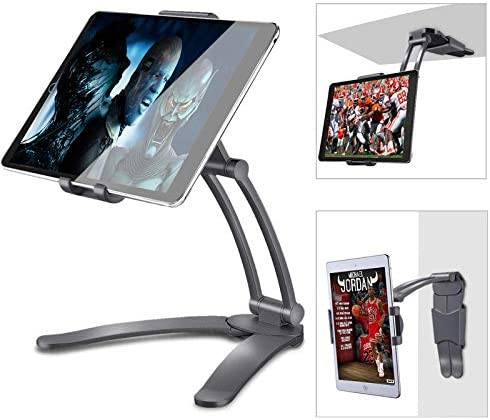 Kitchen Wall Tablet Stand Adjustable Kitchen Desktop Pull-Up Lazy Bracket 2-in-1 Aluminum Wall Desk Mount Support for 5-13