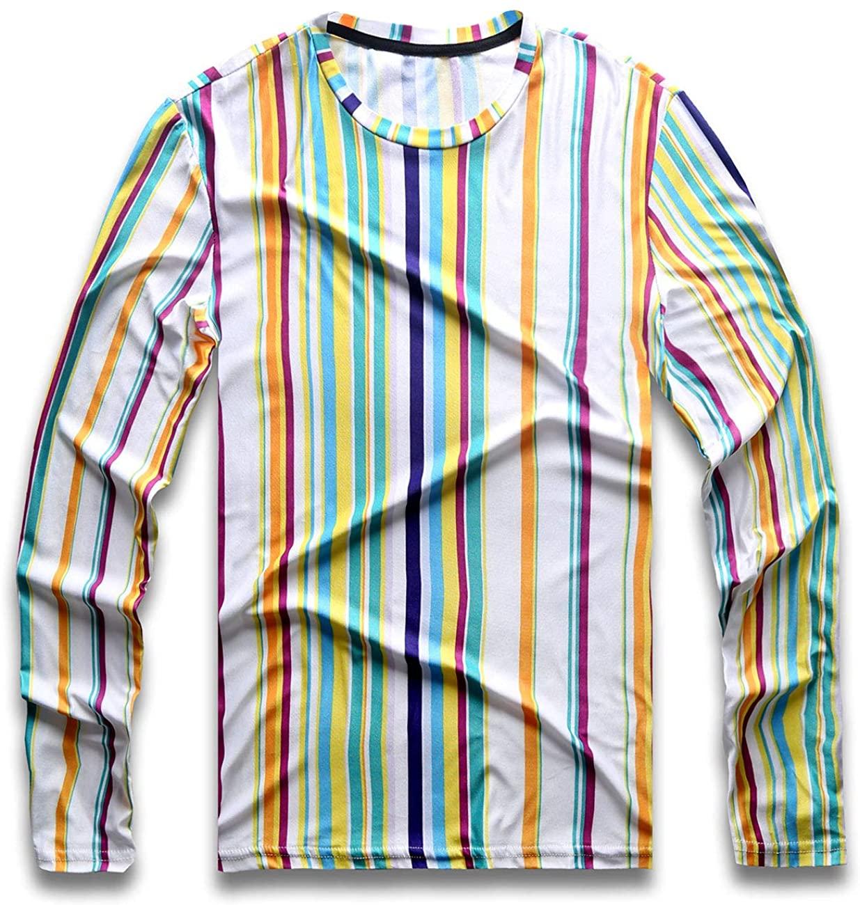 Mens Rainbow Striped T Shirt Vertical Stripes Tee Crew Neck Long Sleeve Stripped