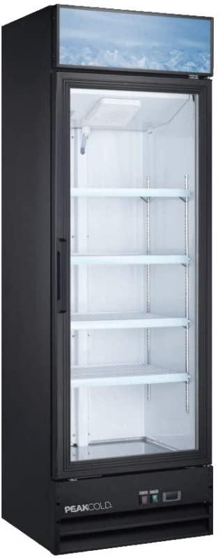 PEAK COLD Single Glass Door Commercial Refrigerator - Retail Merchandiser Cooler; 14 Cubic Ft.