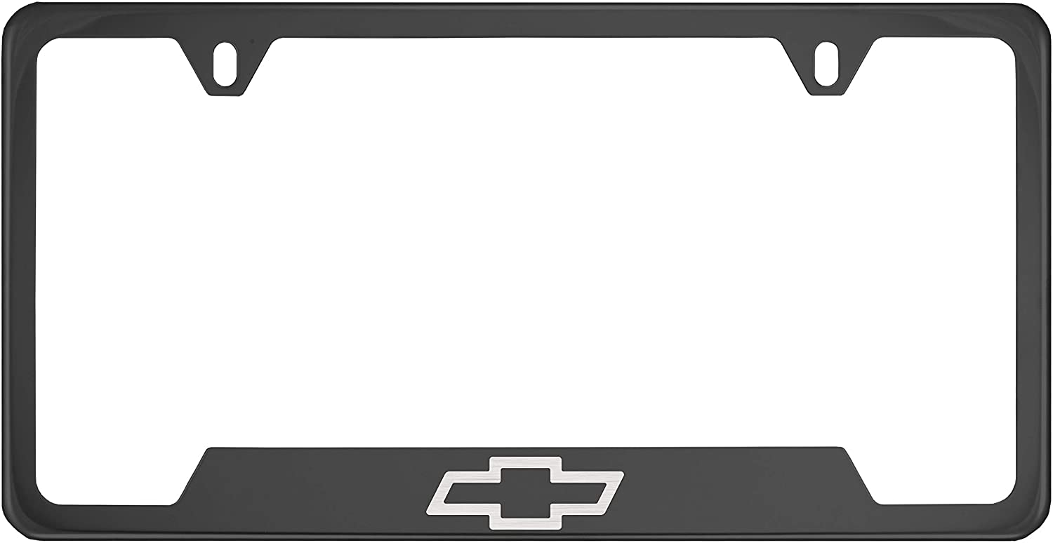 Fit Chevy Fit Chevrolet Polished Stainless Steel Black Chrome License Plate Frame (Plating Color)