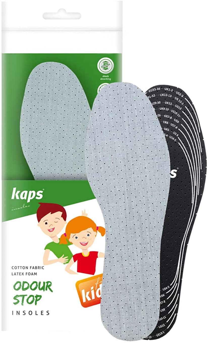 Best Shoe Insoles Inserts for Children | Bad Smell Odor-Eater Technology with Breathable Foam | All Sizes Cut To Fit | Kaps Odour Stop Kids Made in Europe