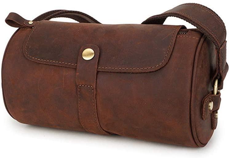 Men's Genuine Leather Shoulder Bag, Vintage Messenger Bag Handmade Crossbody Leather Bag for School Working Travel Dark Brown