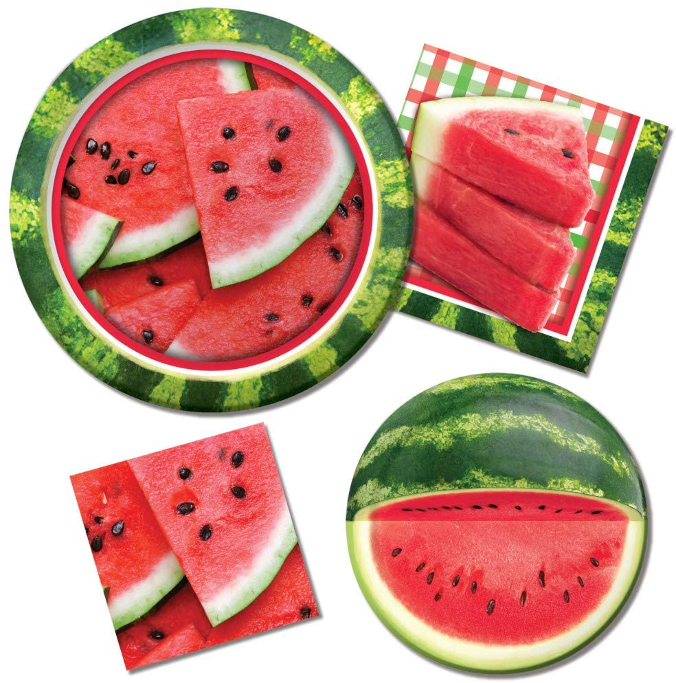 Watermelon Summer Picnic Party Supplies | Bundle Includes Paper Plates & Napkins for 8 People | Slice of Summer Design