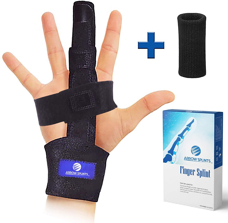 Arrow Splints Trigger Finger Splint | Mallet Finger Brace, Fractured or Broken Finger Straightener, Arthritis & Tendonitis Pain Relief - Immobilization Support for Index, Pinky, Ring, Middle Finger