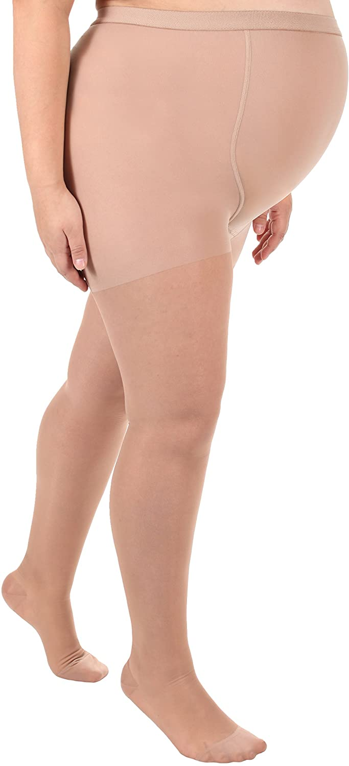 Sheer Maternity Compression Pantyhose - Medium Support 15-20mmHg (XL, Nude)
