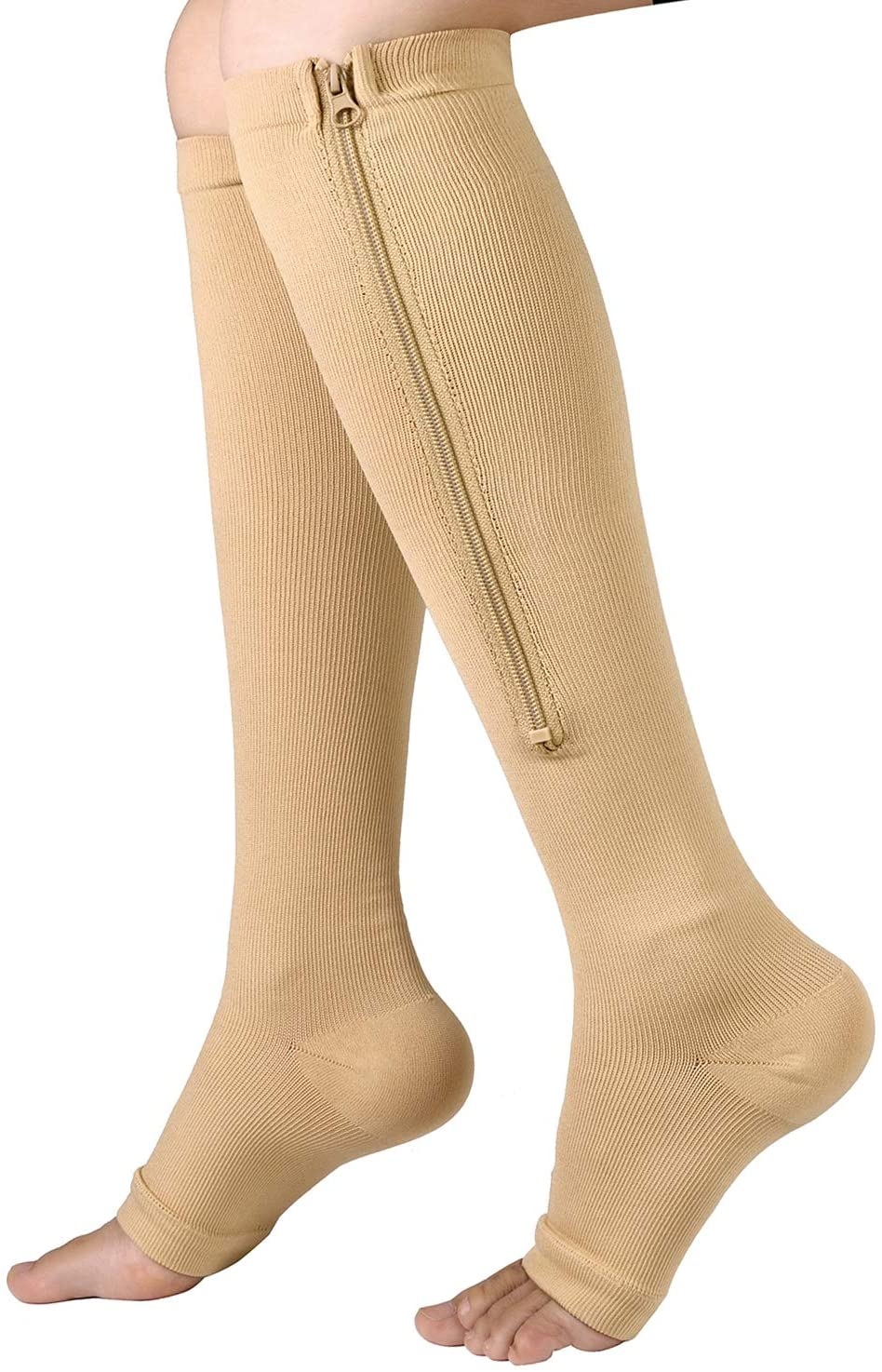 Zipper Compression Socks - 2Pairs Calf Knee High Stocking-Open Toe Compression Socks for Walking,Runnng,Hiking and Sports Use (B- Nude, S/M)