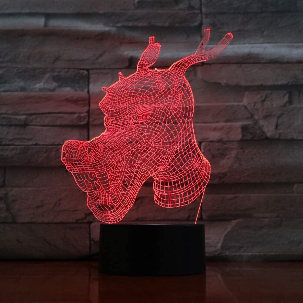 dferh 3D Night Light 3D Visual Led Lamp Colors Changing Touch Switch Luminaria Dragon Head Bulbing Children Toys Lampara Decoration Lampe