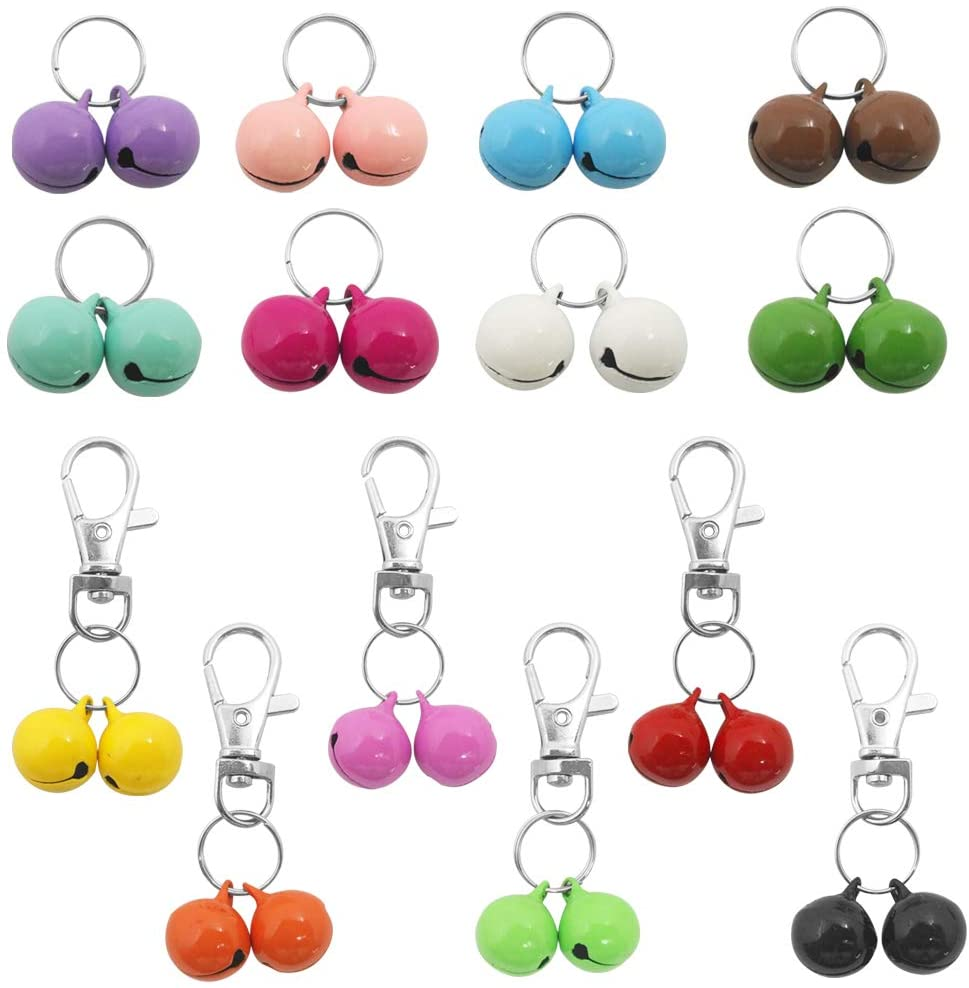 Sonku 28 Pack Pets Cat Collar Bells, Strongest & Loudest Dog Collar Bells for Potty Training, Colourful Cat&Dog Charm Bells for Collars Necklace Pendant -14 Pairs