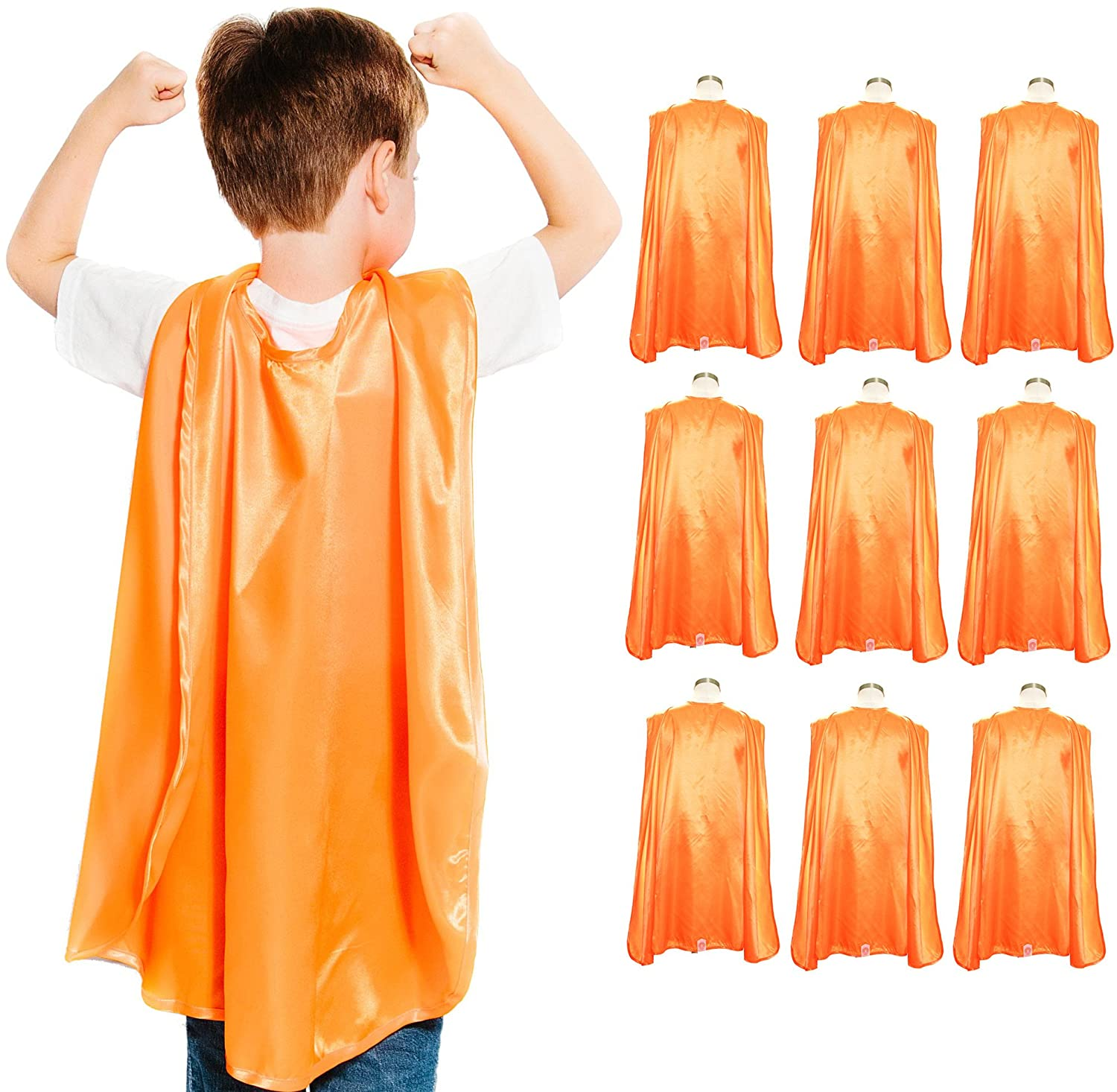 Everfan Youth Superhero Cape Party Pack | Set of 10 Polyester Satin Capes - Kids (Orange)