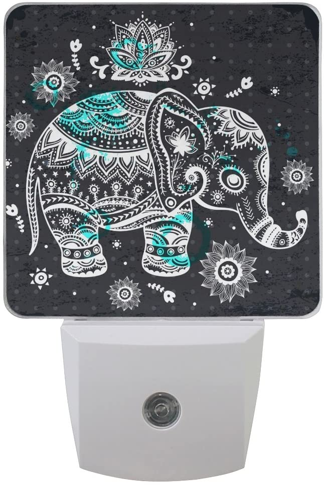 Printing Elephant Patterns on Plug-in LED Night Light Warm White Nightlight for Bedroom Bathroom Hallway Stairways(0.5W 2-Pack)
