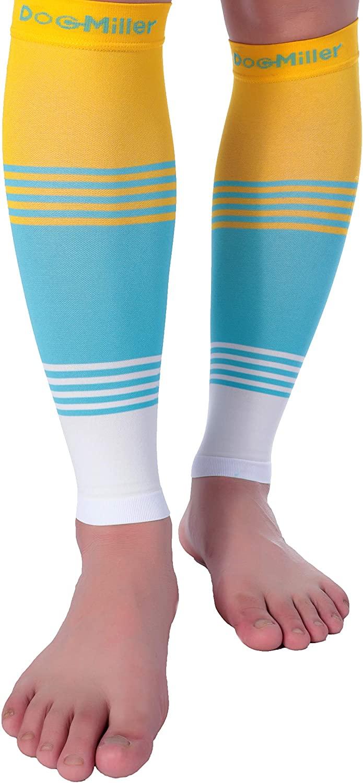 Doc Miller Premium Calf Compression Sleeve Dress Series 1 Pair 20-30mmHg Strong Calf Support Cute Toeless Socks Sports Running Recovery Shin Splints Varicose Veins (YellowBlueWhite, Medium)