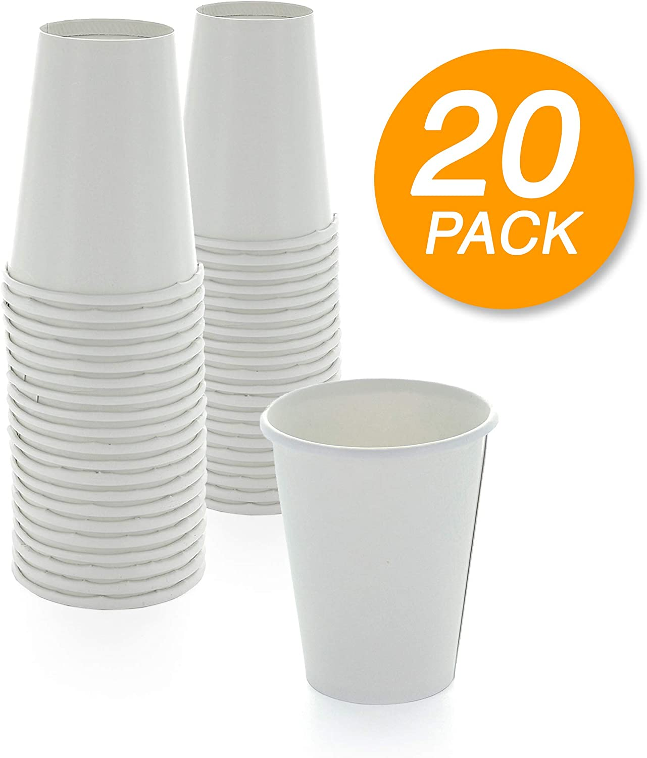 SparkSettings White Disposable Paper Cups Drinking Paper Cup for Both Hot and Cold Beverages Perfect for Coffee, Tea, Water or Juice - Frosty White, Pack of 20