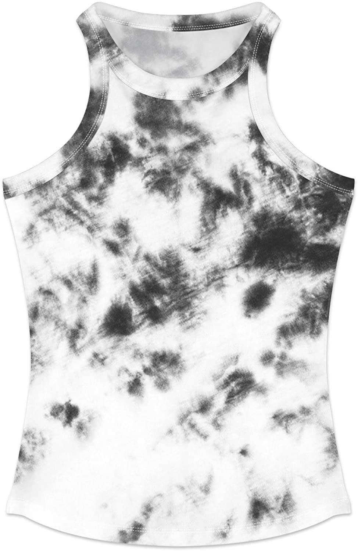 PNKJ Women's Tie Dye Print Tank Tops Summer Sleeveless Ribbed Knit Slim-Fit Shirts