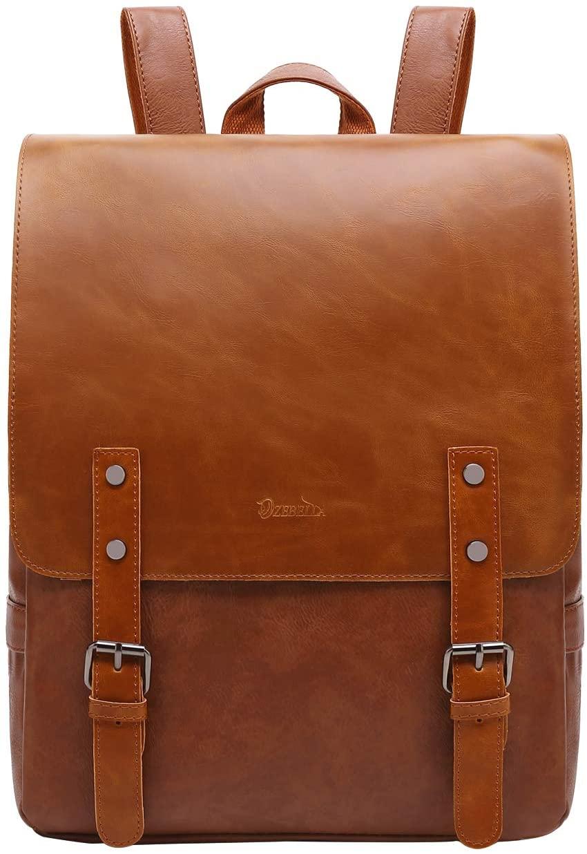 Zebella Vegan Leather Backpack Purse Vintage Laptop Bookbag for Women Men