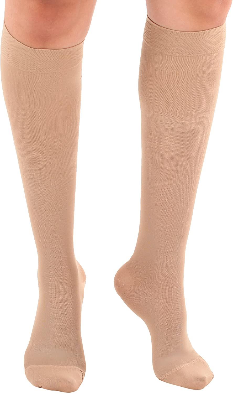 Microfiber Opaque Knee Hi 15-20mmHg Large Beige Closed Toe