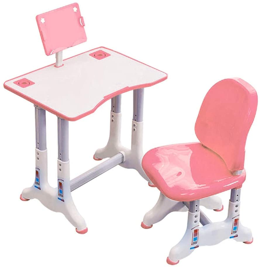 Veki Childrens Desk and Chair Set Adjustable Height Desk Kids Teen Sit Down Desks Children's Study Desk Chair Set Multifunctional Study Table with Book Stand for Home Bedroom (Pink,A,23.6