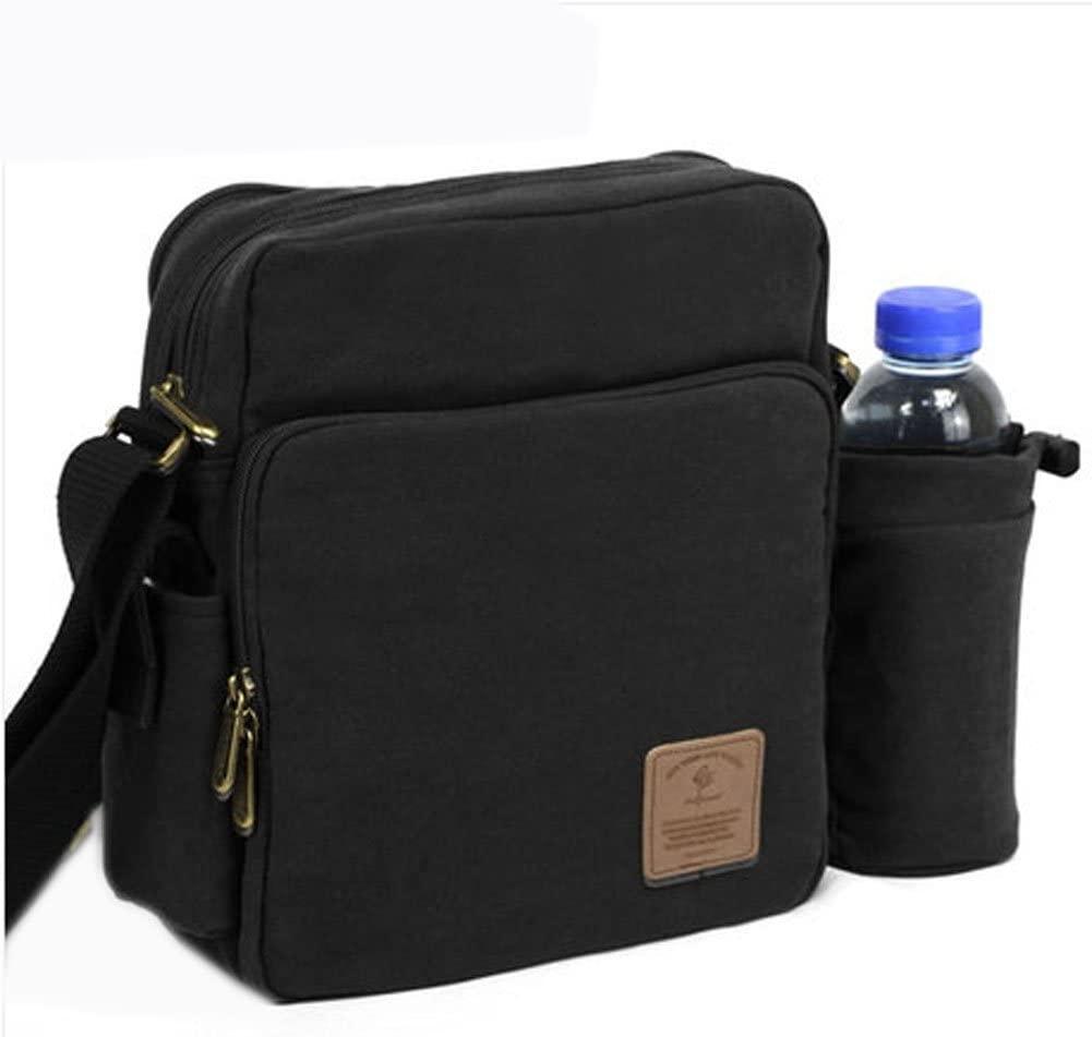 Vintage Canvas Messenger Bag Traval Shoulder Bag Black, Big Size