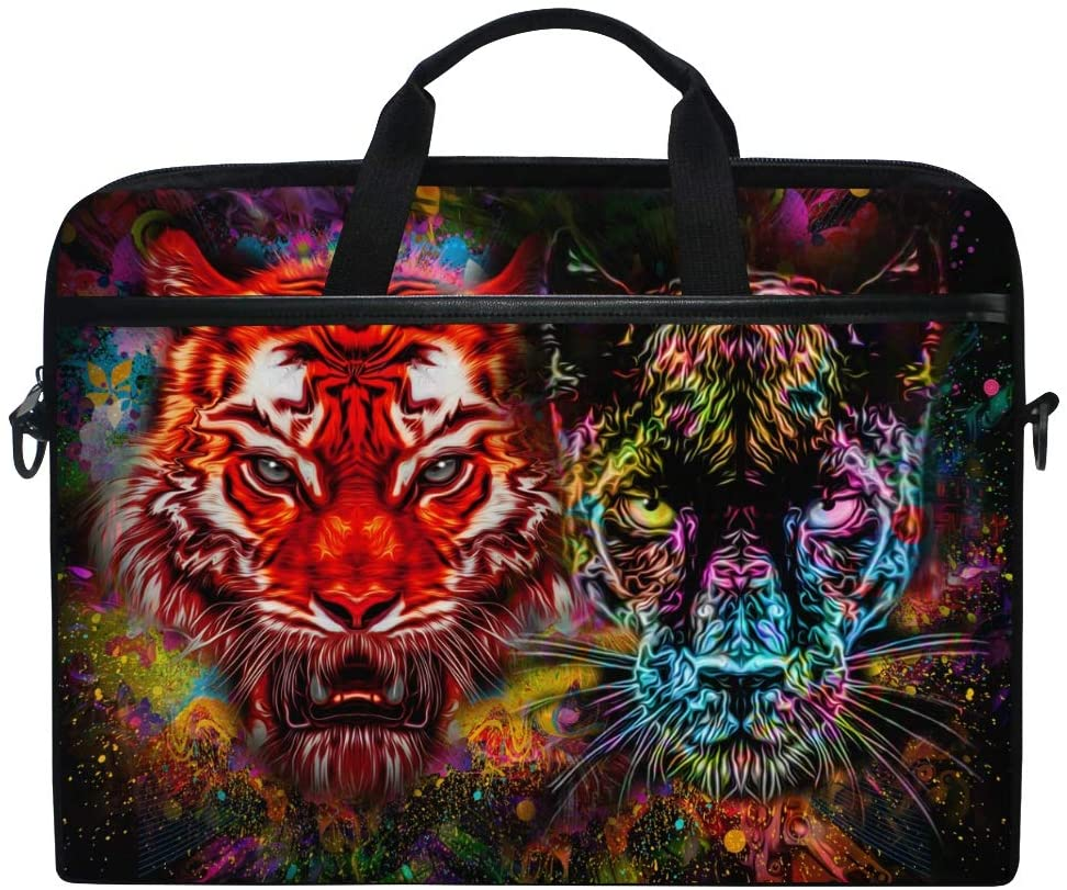 ALAZA Tiger Black Panther Leopard Animal Print Galaxy Colorful Laptop Case Bag Sleeve Portable/Crossbody Messenger Briefcase Convertible w/Strap Pocket 15-15.4 inch, Back to School Gifts