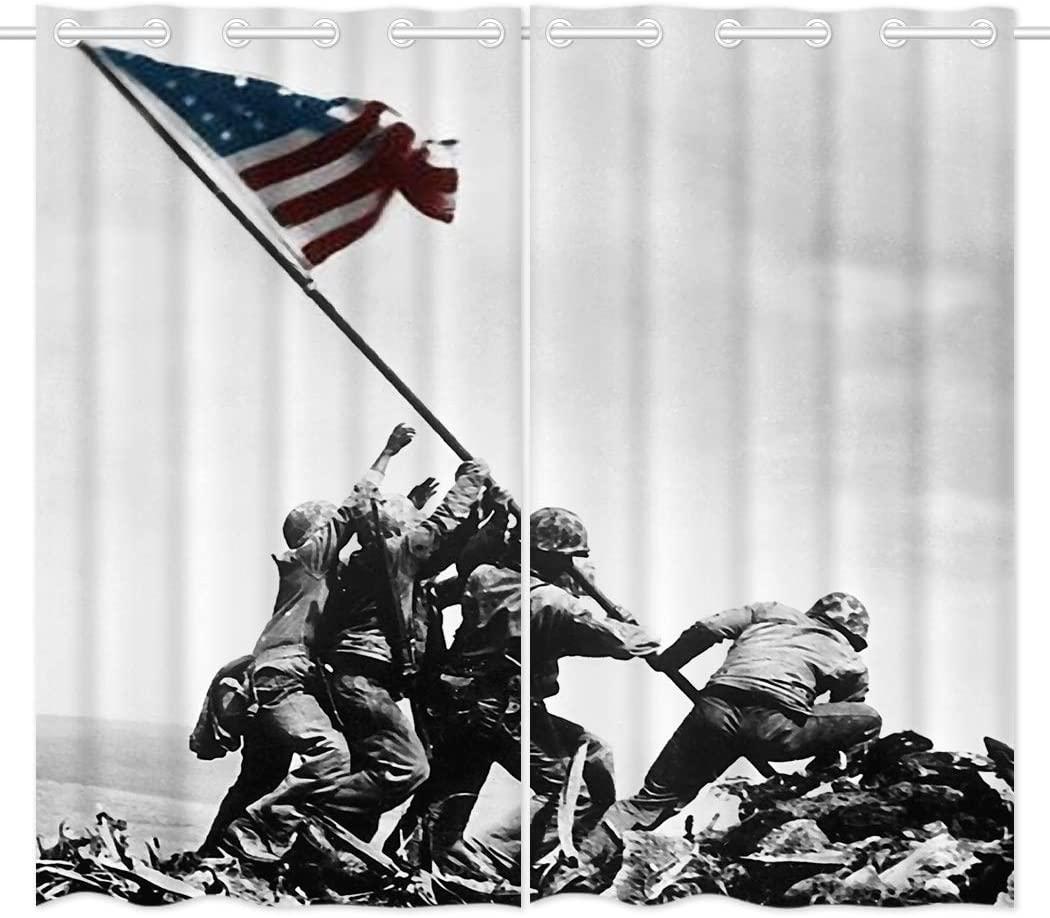 HommomH 54 x 84 inch Curtains (2 Panel) Grommet Top Darkening Blackout Room US Marine Corps