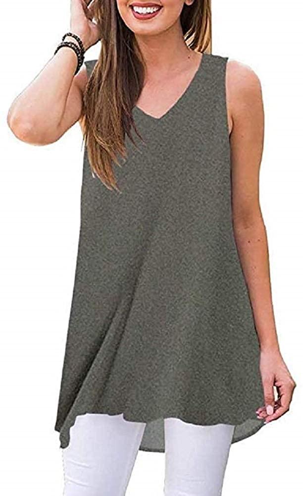 Donnalla Women's Summer Sleeveless V-Neck High-Low Flowy Tunic Tank Tops