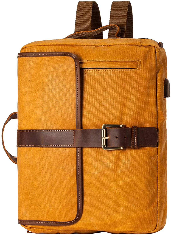 Vintage Waterproof Waxed Canvas Convertible Laptop Messenger Backpack Men Women