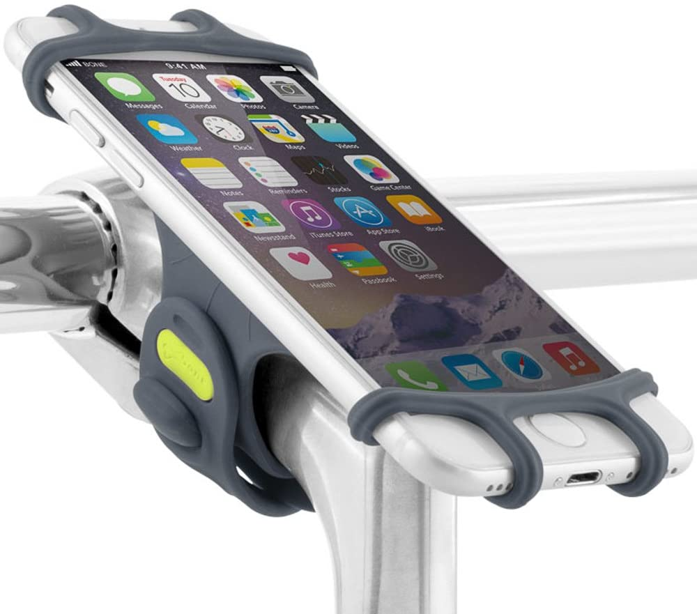 """Bone Bike Tie Pro Universal Bike Phone Mount,Silicone Bicycle Phone Holder, Universal Motorcycle Stem Mount Compatible for iPhone Xs/X/8/7/6s, Galaxy S8/S7/S6, 4.0""""-6.0"""" Phones- Dark Blue"""