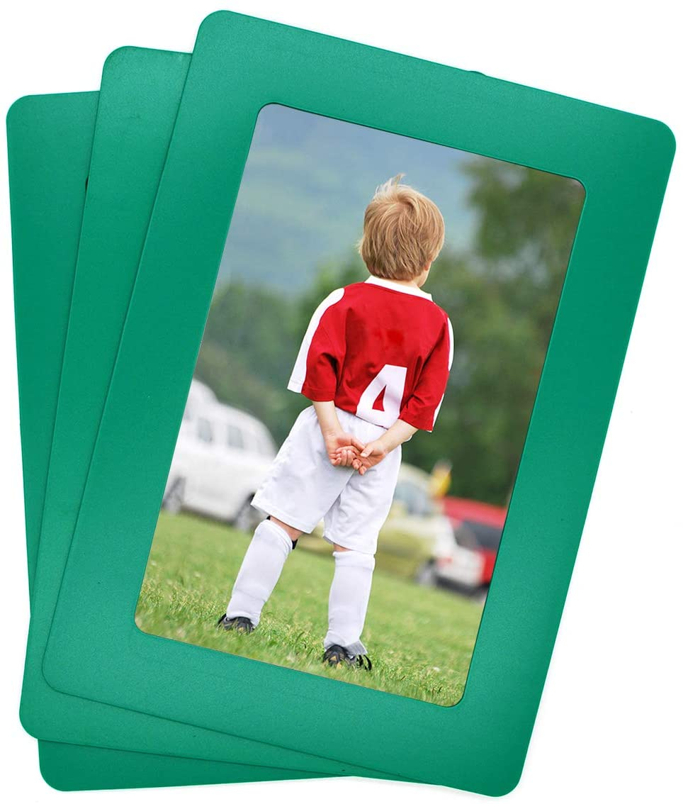 TOPINSTOCK Magnetic Picture Frames for Refrigerator Soft PVC Frame Holds 4 x 6 Inches Photos Green Color 3 Pack