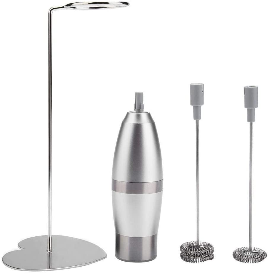 Maxmartt Battery Powered Handheld Electric Milk Frother Coffee Foam Maker with Stainless Steel Stand