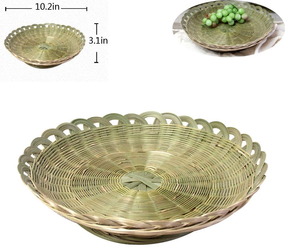 Creative Bamboo Woven Fruit Tray Bamboo Weave Basket Bamboo Products Pure Handmade Household Vegetable Washing Fruit Basket Dried Fruit Tray Storage Basket Steamed Bread Basket Fruit Plate (Shallow Di