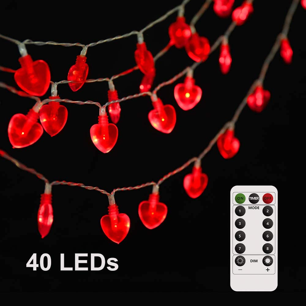 Heart Shaped String Lights Bedroom Lights Decorations 13FT 40LED Battery Operated Fairy Lights Valentine's Day String Light with Remote for Mother's and Father's Day Home Room Party Wedding Hanging