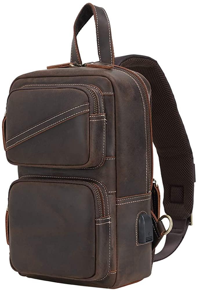 Men's Chest Sling Pack Bag, Messenger Satchel Shoulder Daypack with USB Charging Port & YKK Zipper Fit 11 Inch iPad