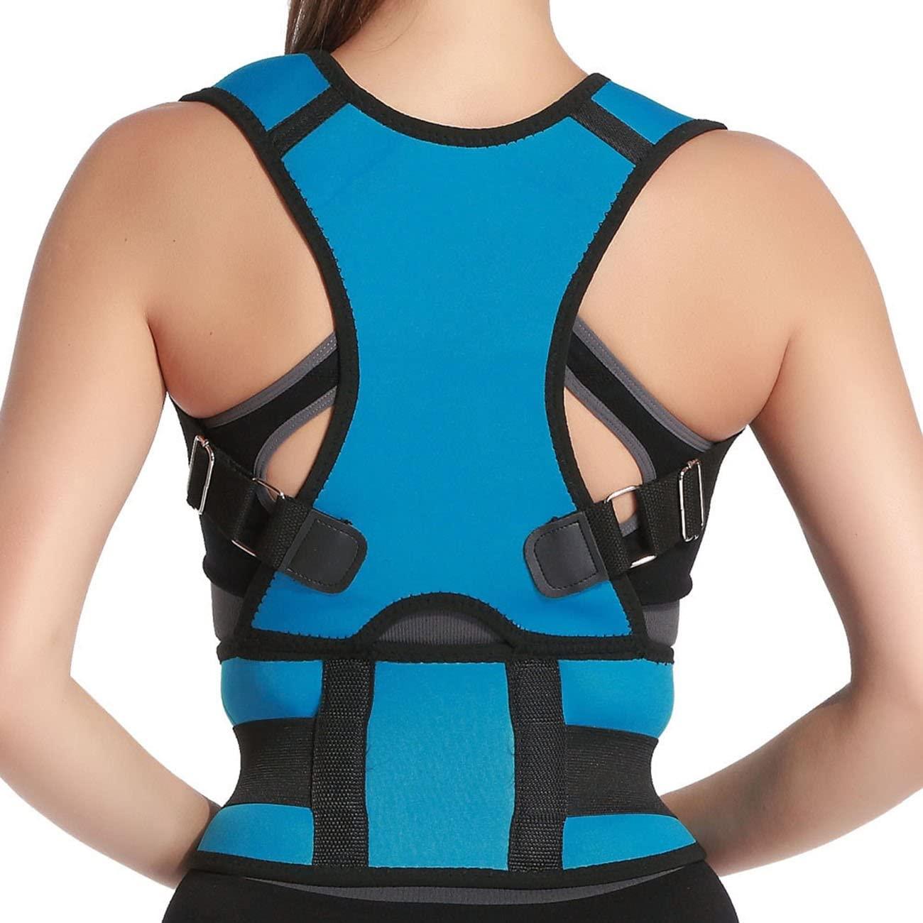 Panegy Belly Sweat Belt Posture Brace Shoulder Back Support Back Posture Corrector Men Shoulder PostureTherapy Adjustable Posture Back Shoulder Corrector Support Brace Belt Size XXL Light Blue