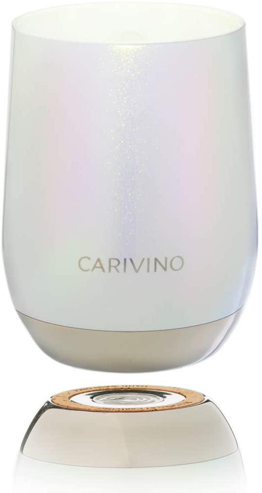 CARIVINO: Luxury Wine Tumbler with Genuine Cork Base and Ceramic Interior (No Metal Taste) – Premium Gift Box 12oz Vacuum Insulated Stainless Steel and BPA Free Tritan Lid (Luminous Pearl)
