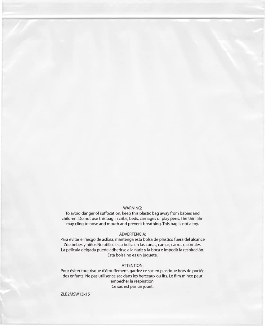 Plymor Zipper Reclosable Plastic Bags w/Printed Suffocation Warning, 2 Mil, 13