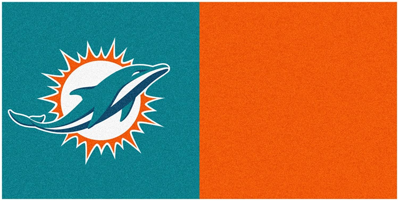 NFL Miami Dolphins Team Carpet Tile Flooring Squares, 20-PC Set