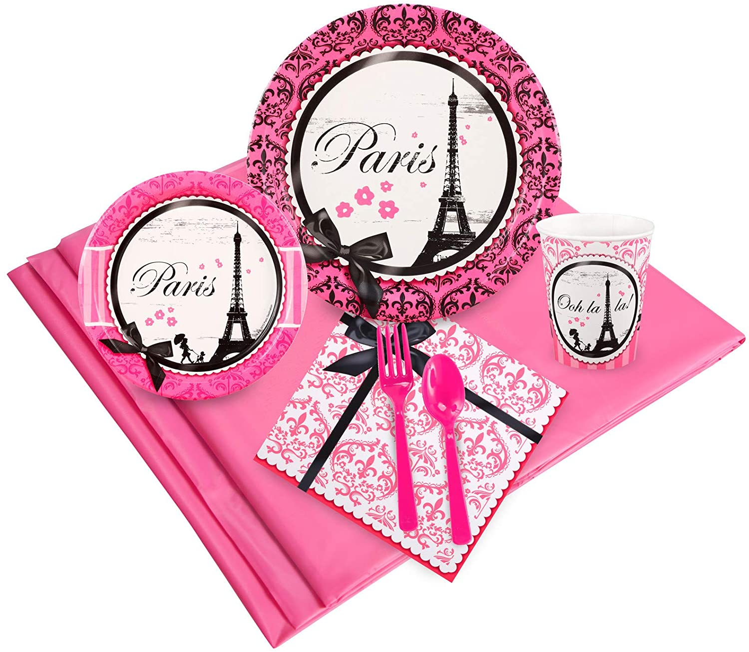 BirthdayExpress Paris Eiffel Tower Damask Party Supplies - Party Pack for 24