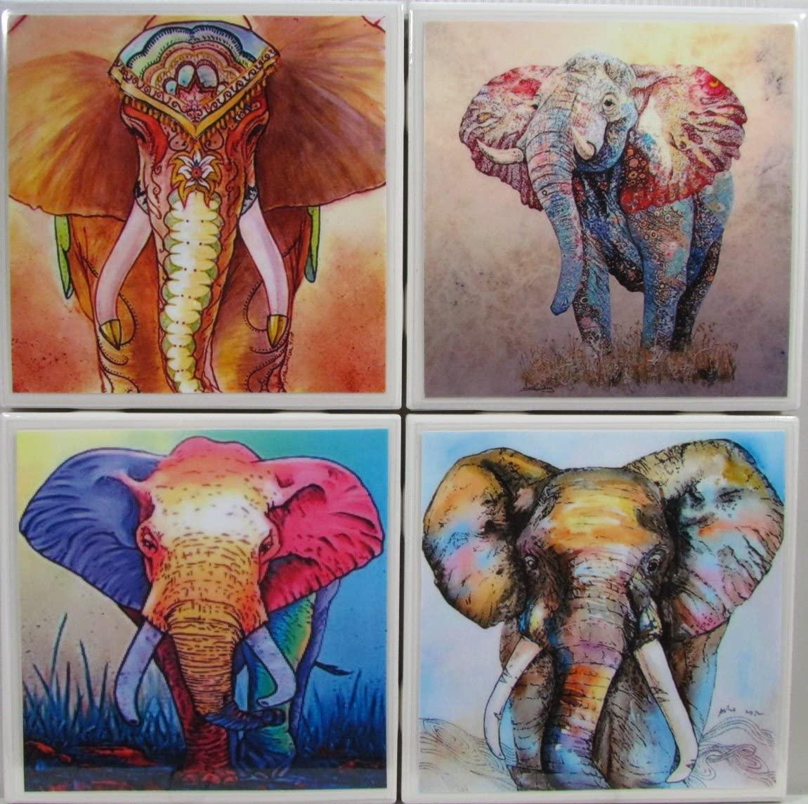 Personalized Coasters - Elephants - Set of 4-4