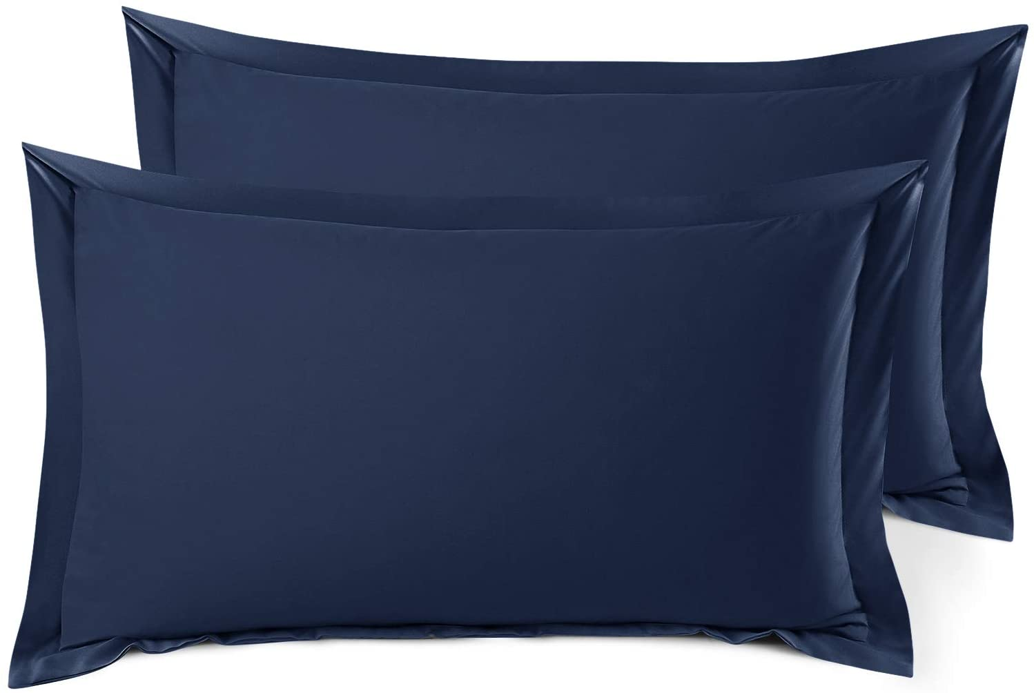 Nestl Bedding Soft Pillow Shams Set of 2 - Double Brushed Microfiber Hypoallergenic Pillow Covers - Hotel Style Premium Bed Pillow Cases, King - Navy