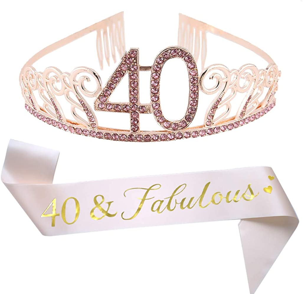 40th Birthday Pink Tiara and Sash Glitter Satin Sash and Crystal Rhinestone Tiara Crown for Happy 40th Birthday Party Supplies Favors Decorations 40th Birthday Party Accessories