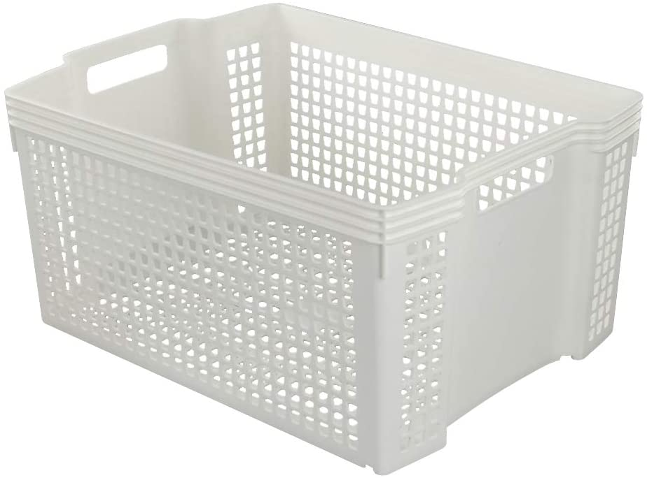 Saedy 18 Quart White Plastic Basket with Handle, Stackable Basket Bins, Set of 1