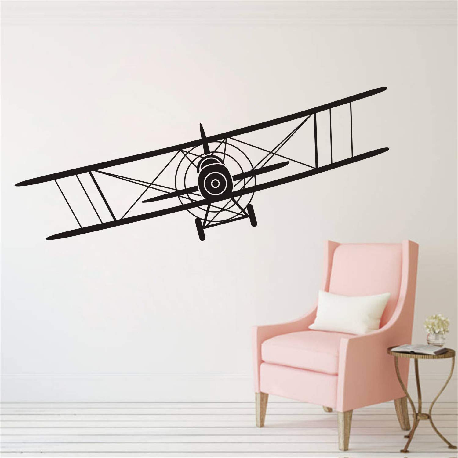 Makeyes Biplane Airplane Wall Decal Vinyl Sticker Decor for Kids Boys Nursery Living Room Design Bedroom Decoration DIY YMX53 (Black, 57X23CM)