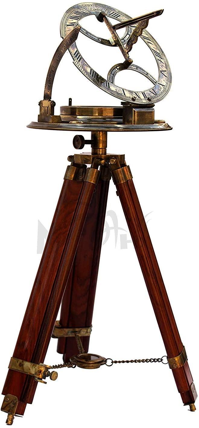 MAH- 8''Antique Srtyle Tripod Sundial Compass Brass -Nautical Compass Master Stand (Antique Finish- Beautiful Home Decor. C-3183 C