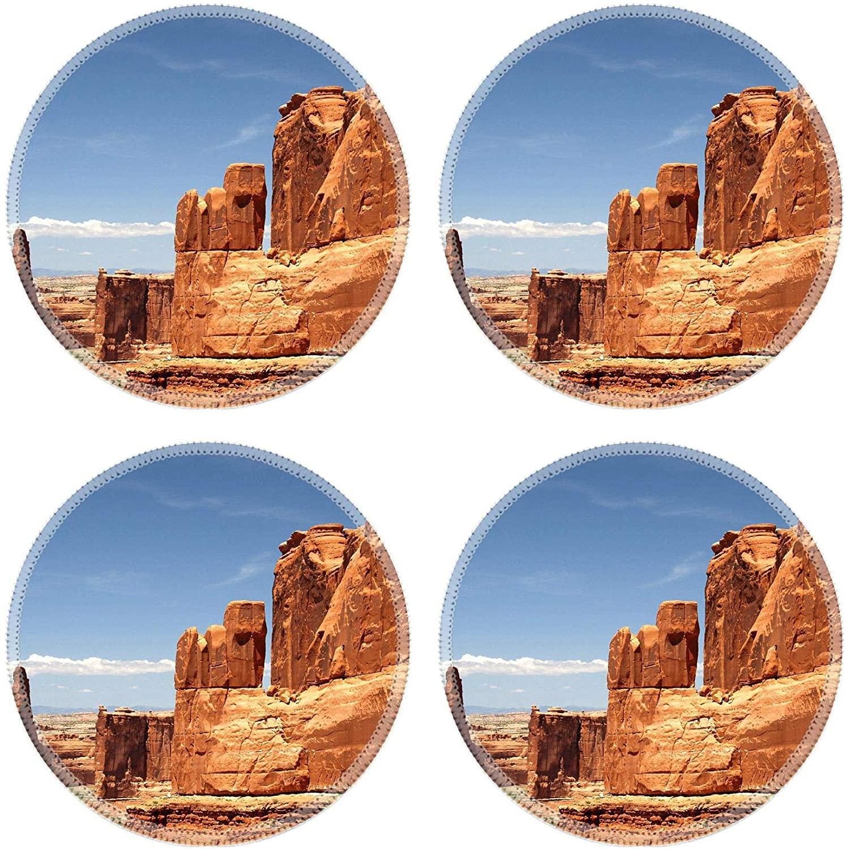 MSD Round Drink Coasters Set of 4 Natural Rubber Design for Nature Rock Desert Landscape Park Sandstone America National Red Sky Erosio
