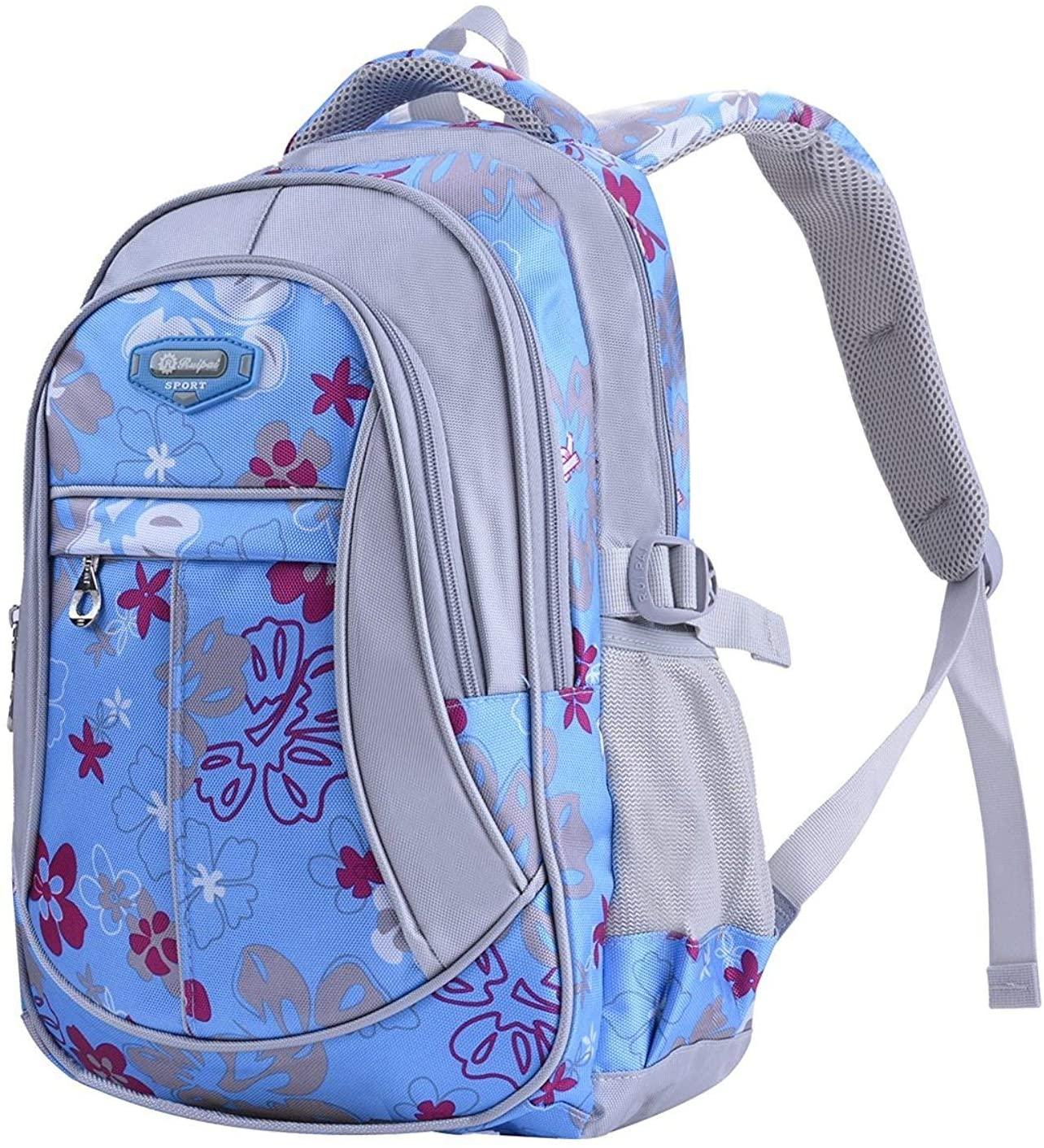 MAYZERO School Backpacks Waterproof School Bags Durable Travel Camping Backpacks for Boys and Girls (3 Blue)