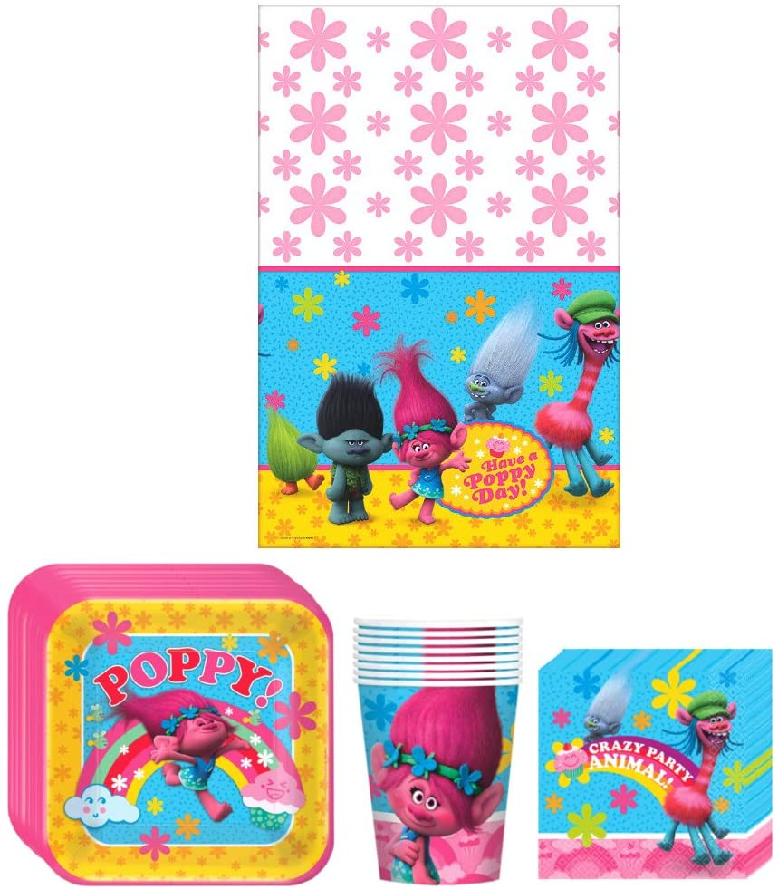 Trolls Birthday Party Supplies Bundle Kit Including Plates, Cups, Napkins and Table cover - 8 Guests