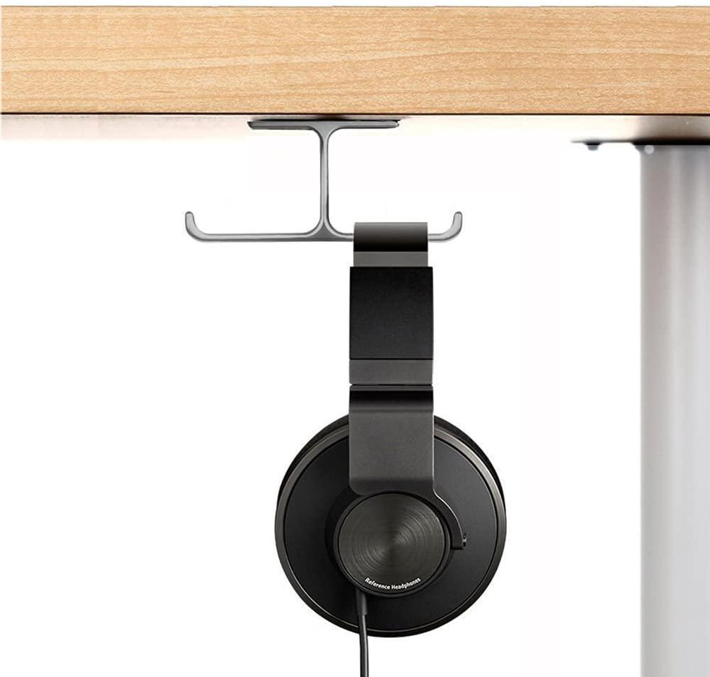 Headset Mount, 6amLifestyle Headphone Holder Aluminum Under Desk Dual Headphones Stand Hanger Stick-On Hooks Universal for All Headsets, Gray (Patented)