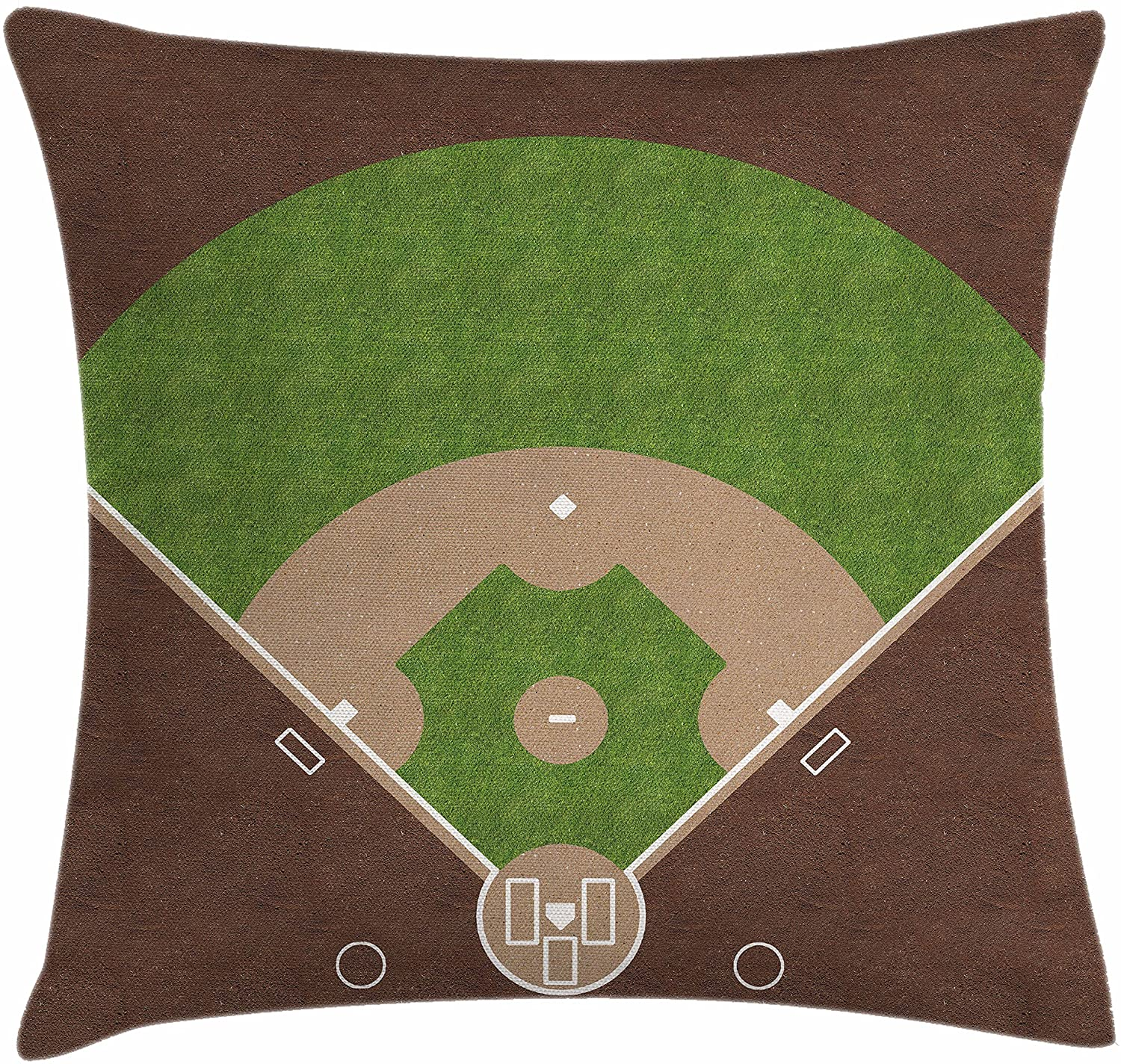 Lunarable Sports Throw Pillow Cushion Cover, American Baseball Field with White Markings Painted on Grass Print, Decorative Square Accent Pillow Case, 16