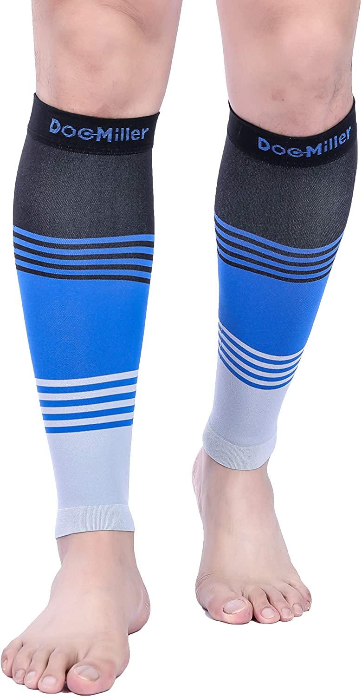Doc Miller Premium Calf Compression Sleeve Dress Series 1 Pair 20-30mmHg Strong Calf Support Cute Toeless Socks Sports Running Recovery Shin Splints Varicose Veins (BlackBlueGray, 3X-Large)