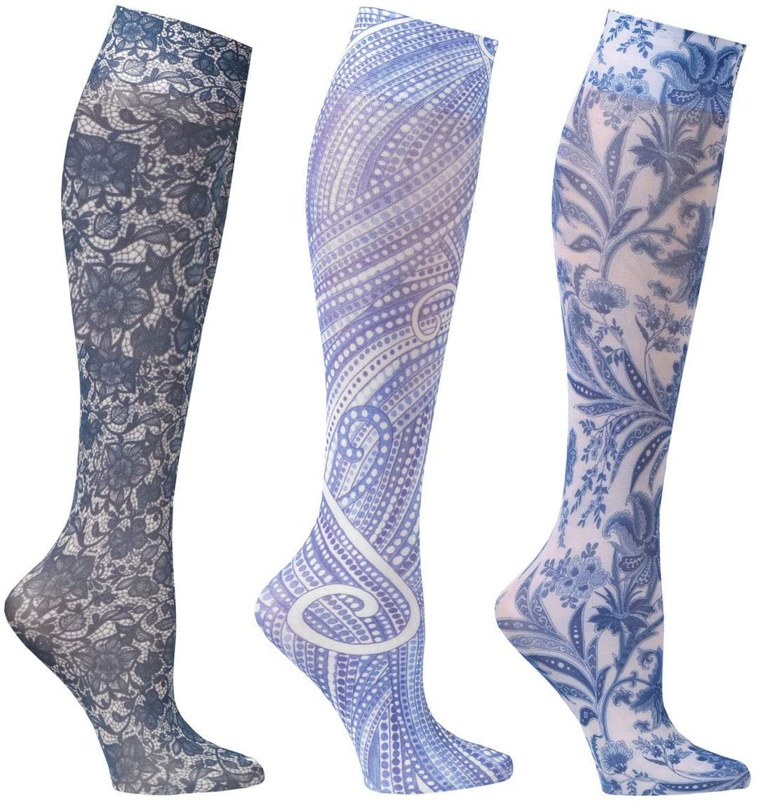 Celeste Stein Womens Knee-High Stockings - 3 Pack Wide Calf Closed Toe Mild Compression 8-15 mmHg - Blue Medley